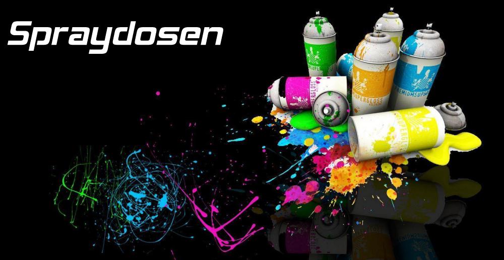 Spraydosen als Autolackspray, Grundierung, Primer und Kunststoff